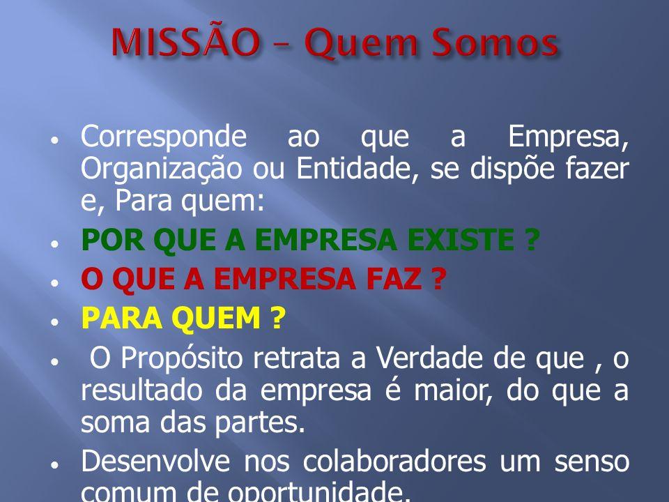 MISSÃO – Quem Somos Corresponde ao que a Empresa, Organização ou Entidade, se dispõe fazer e, Para quem: