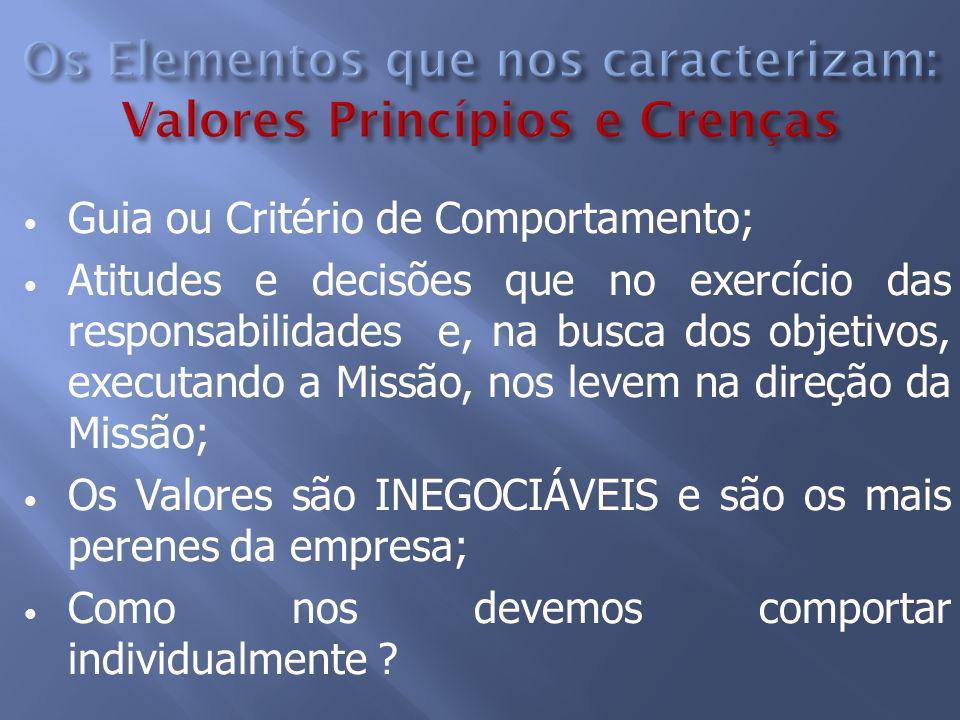 Os Elementos que nos caracterizam: Valores Princípios e Crenças