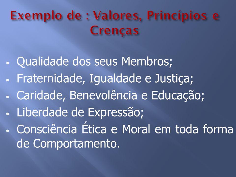 Exemplo de : Valores, Princípios e Crenças