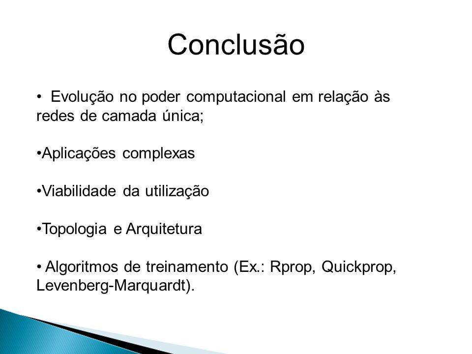 Conclusão Evolução no poder computacional em relação às redes de camada única; Aplicações complexas.
