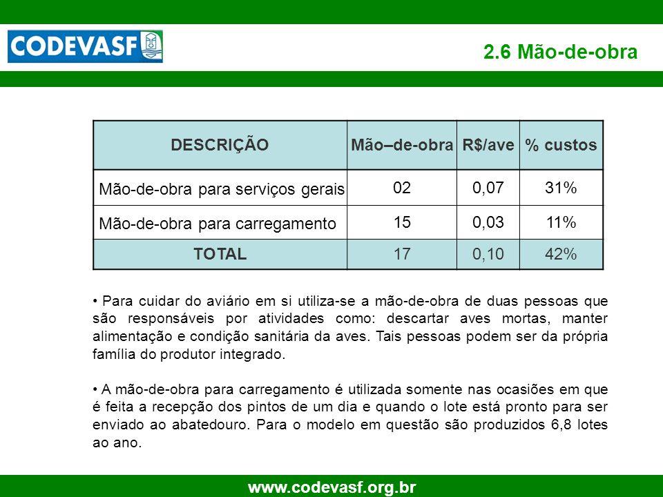 2.6 Mão-de-obra DESCRIÇÃO Mão–de-obra R$/ave % custos