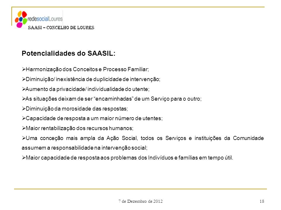 Potencialidades do SAASIL: