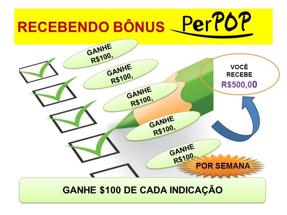 GANHE $100 DE CADA INDICAÇÃO