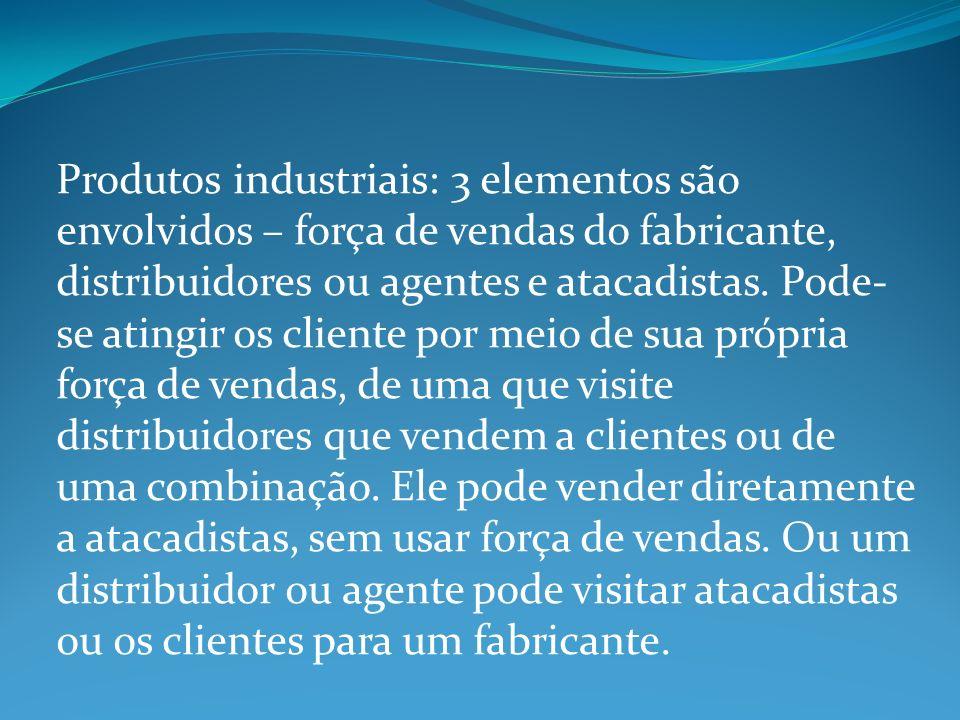 Produtos industriais: 3 elementos são envolvidos – força de vendas do fabricante, distribuidores ou agentes e atacadistas.