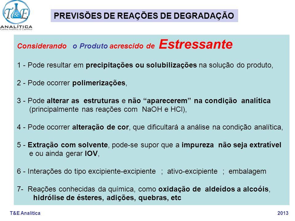 PREVISÕES DE REAÇÕES DE DEGRADAÇÃO