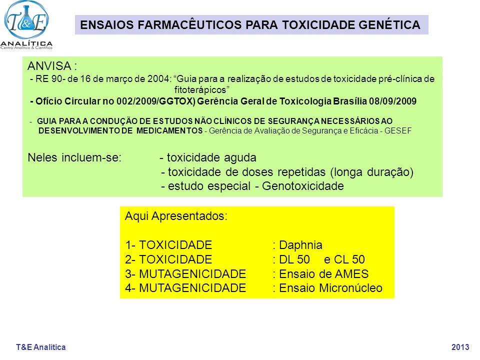 ENSAIOS FARMACÊUTICOS PARA TOXICIDADE GENÉTICA