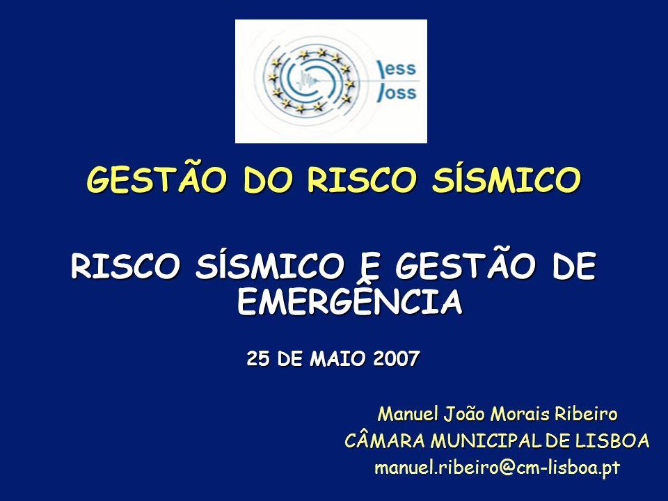 GESTÃO DO RISCO SÍSMICO RISCO SÍSMICO E GESTÃO DE EMERGÊNCIA