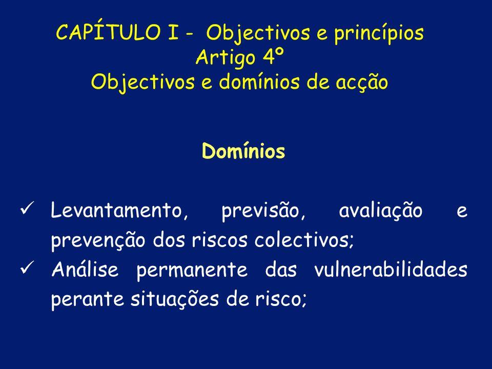 Levantamento, previsão, avaliação e prevenção dos riscos colectivos;