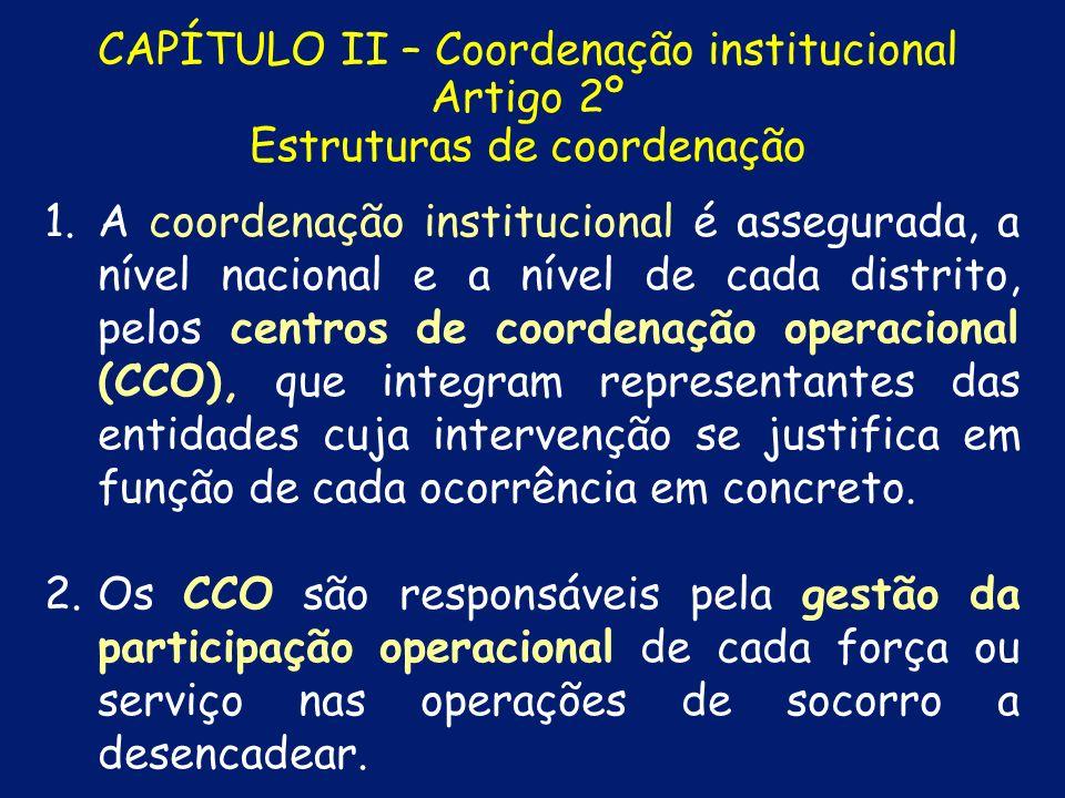 CAPÍTULO II – Coordenação institucional Artigo 2º Estruturas de coordenação