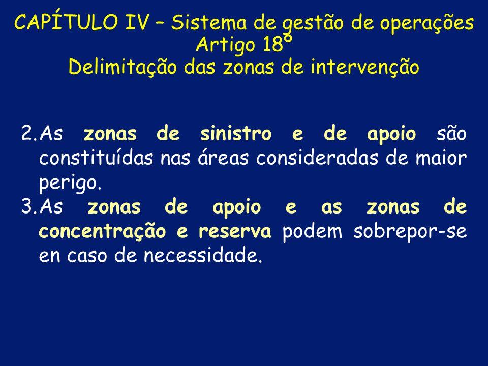 CAPÍTULO IV – Sistema de gestão de operações Artigo 18º Delimitação das zonas de intervenção