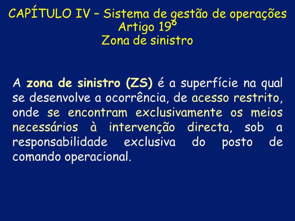 CAPÍTULO IV – Sistema de gestão de operações Artigo 19º Zona de sinistro