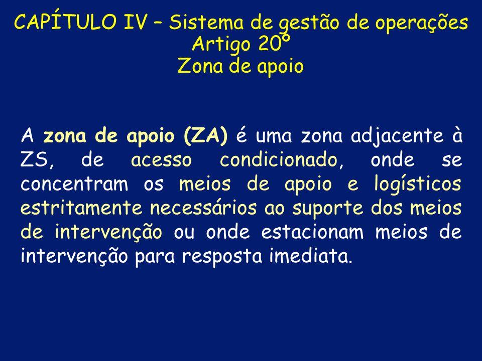 CAPÍTULO IV – Sistema de gestão de operações Artigo 20º Zona de apoio