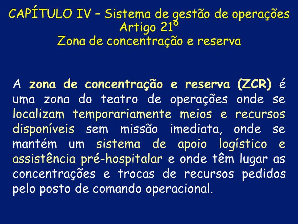 CAPÍTULO IV – Sistema de gestão de operações Artigo 21º Zona de concentração e reserva