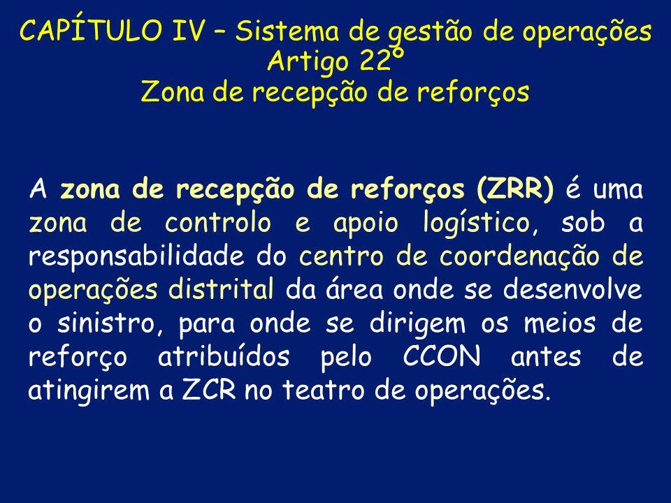 CAPÍTULO IV – Sistema de gestão de operações Artigo 22º Zona de recepção de reforços