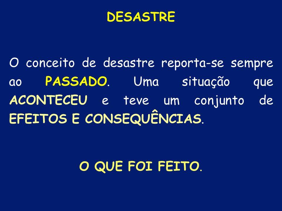 DESASTRE O conceito de desastre reporta-se sempre ao PASSADO. Uma situação que ACONTECEU e teve um conjunto de EFEITOS E CONSEQUÊNCIAS.