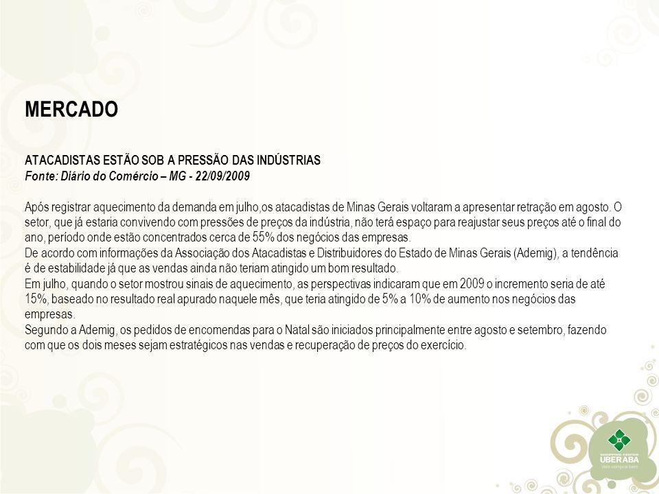 MERCADO ATACADISTAS ESTÃO SOB A PRESSÃO DAS INDÚSTRIAS Fonte: Diário do Comércio – MG - 22/09/2009 Após registrar aquecimento da demanda em julho,os atacadistas de Minas Gerais voltaram a apresentar retração em agosto.