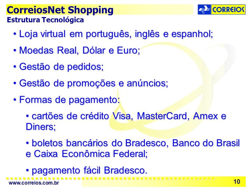 Loja virtual em português, inglês e espanhol;