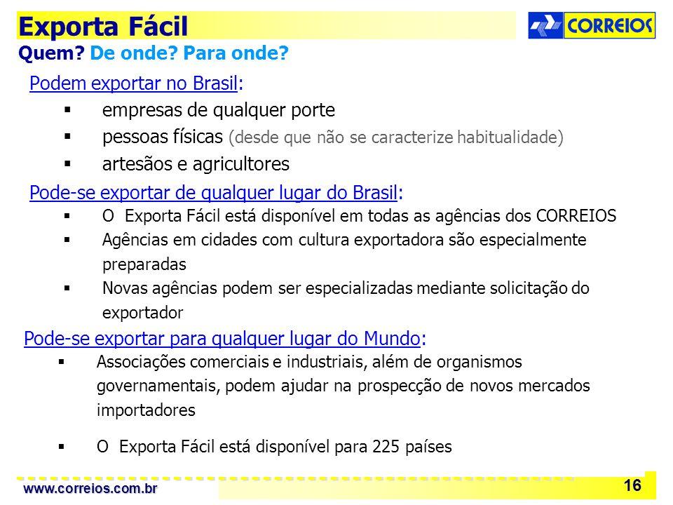 Exporta Fácil Quem De onde Para onde Podem exportar no Brasil: