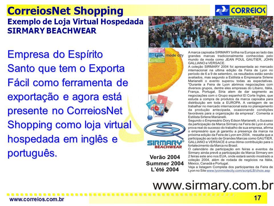 CorreiosNet Shopping Exemplo de Loja Virtual Hospedada: SIRMARY BEACHWEAR.
