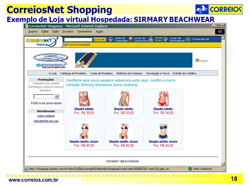 CorreiosNet Shopping Exemplo de Loja virtual Hospedada: SIRMARY BEACHWEAR