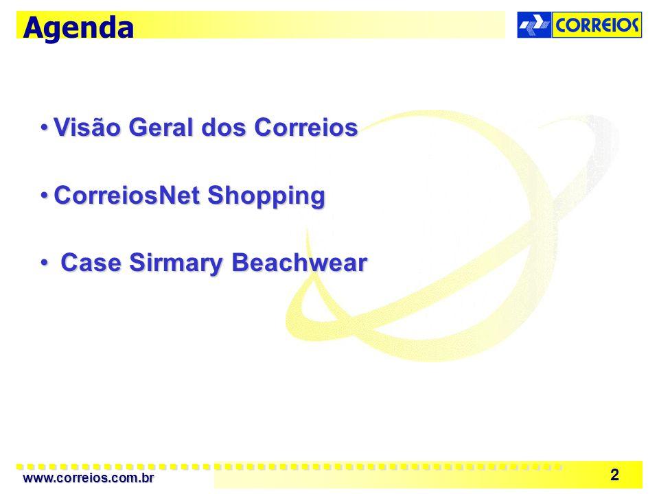 Agenda Visão Geral dos Correios CorreiosNet Shopping
