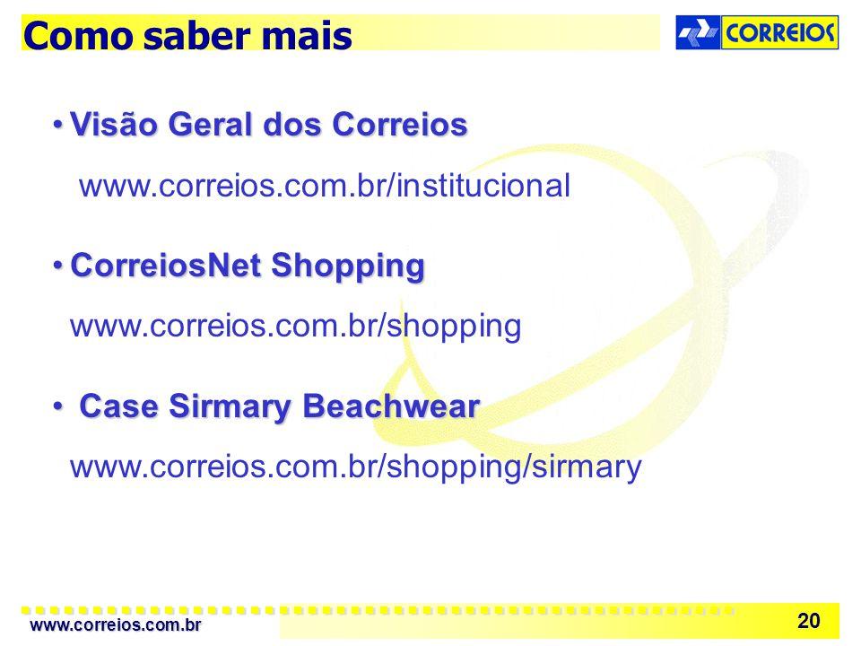 Como saber mais Visão Geral dos Correios www.correios.com.br/institucional. CorreiosNet Shopping www.correios.com.br/shopping.