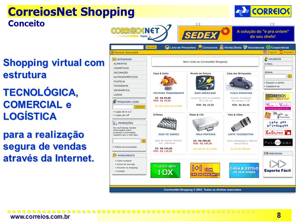 CorreiosNet Shopping Shopping virtual com estrutura
