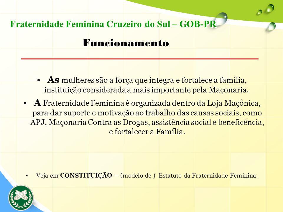 Veja em CONSTITUIÇÃO – (modelo de ) Estatuto da Fraternidade Feminina.