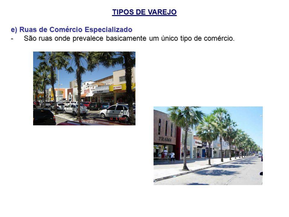 TIPOS DE VAREJO e) Ruas de Comércio Especializado.