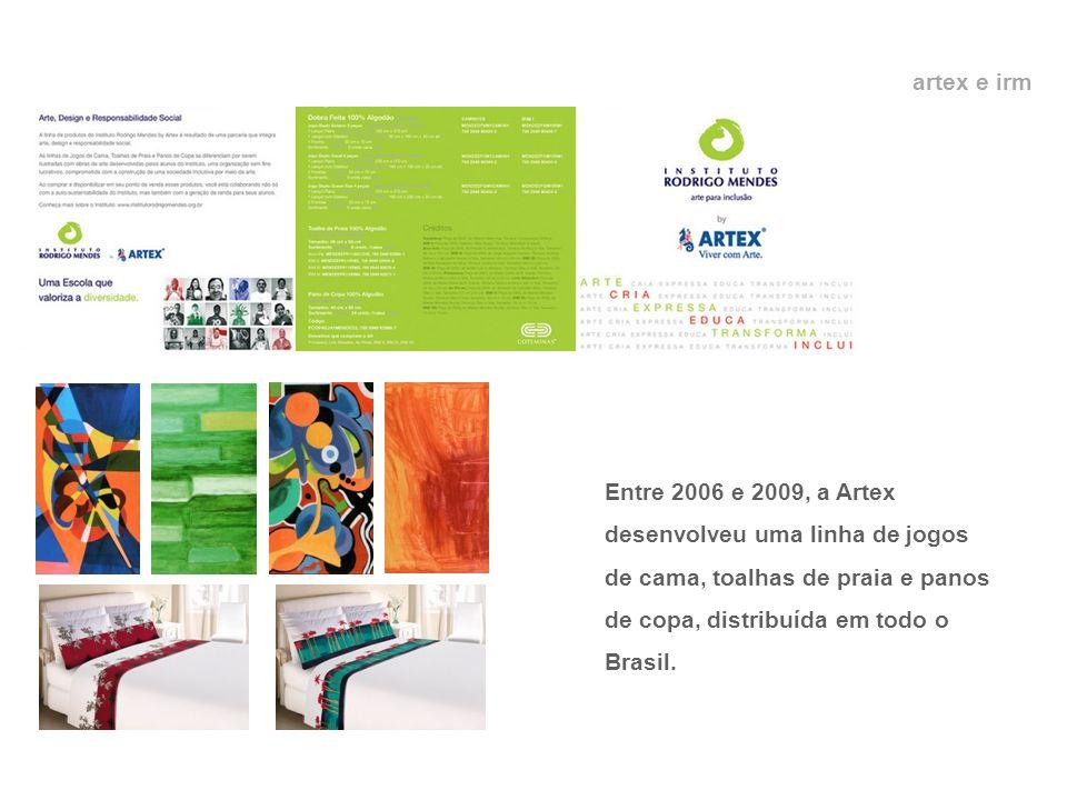 artex e irm Entre 2006 e 2009, a Artex desenvolveu uma linha de jogos de cama, toalhas de praia e panos de copa, distribuída em todo o Brasil.