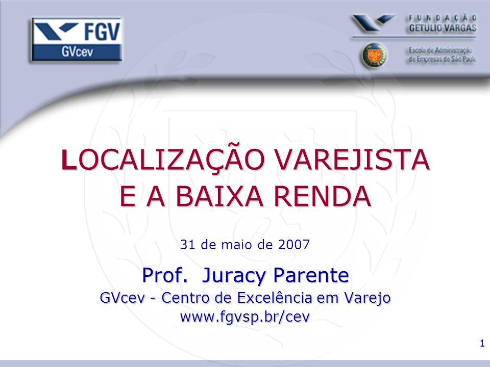 LOCALIZAÇÃO VAREJISTA E A BAIXA RENDA 31 de maio de 2007 Prof