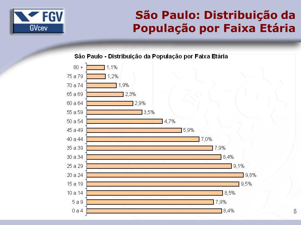 São Paulo: Distribuição da População por Faixa Etária