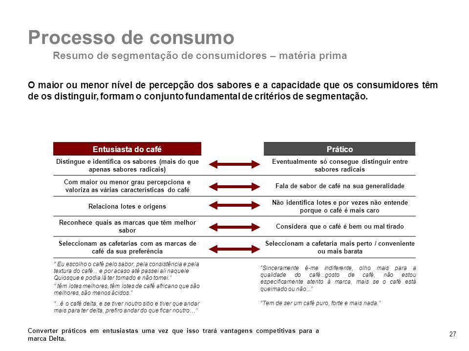 Resumo de segmentação de consumidores – matéria prima
