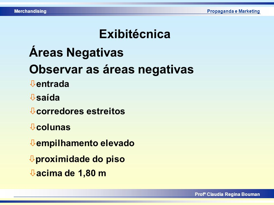 Observar as áreas negativas