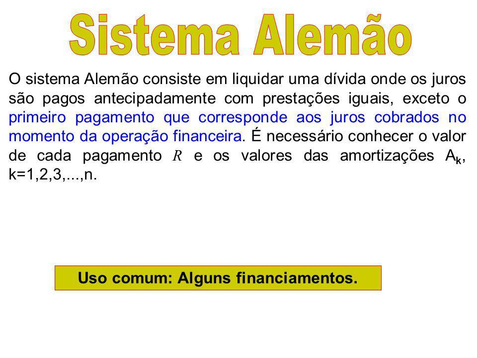 Uso comum: Alguns financiamentos.