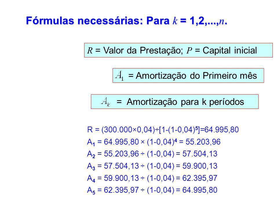 Fórmulas necessárias: Para k = 1,2,...,n.