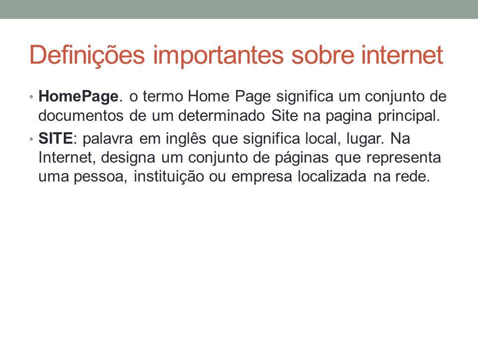 Definições importantes sobre internet
