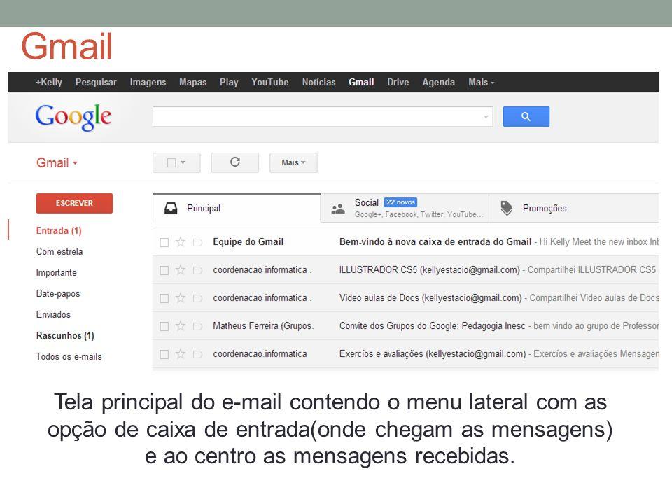 Gmail Tela principal do e-mail contendo o menu lateral com as opção de caixa de entrada(onde chegam as mensagens) e ao centro as mensagens recebidas.