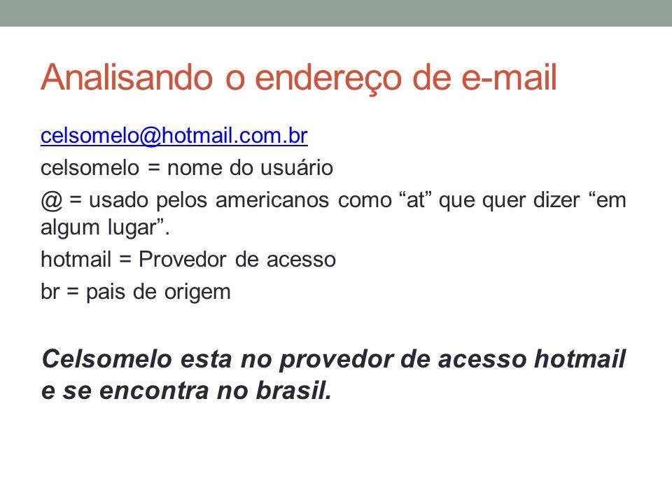 Analisando o endereço de e-mail