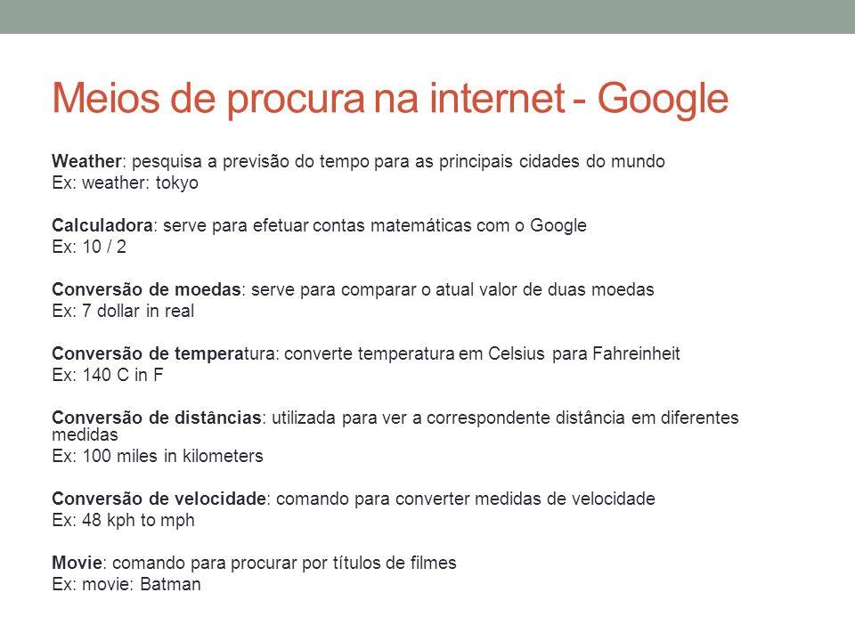 Meios de procura na internet - Google
