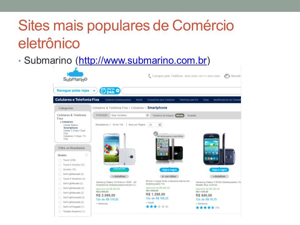 Sites mais populares de Comércio eletrônico