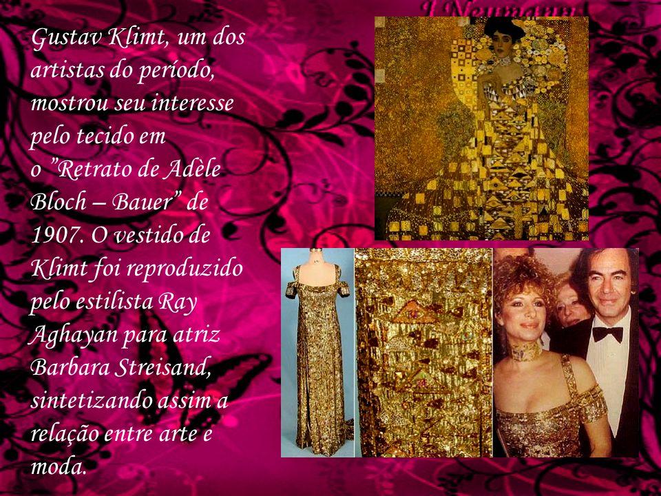 Gustav Klimt, um dos artistas do período, mostrou seu interesse pelo tecido em o Retrato de Adèle Bloch – Bauer de 1907.