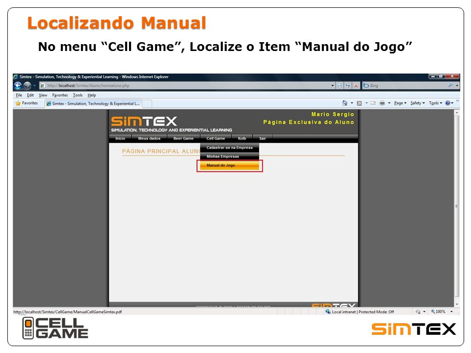 Localizando Manual No menu Cell Game , Localize o Item Manual do Jogo