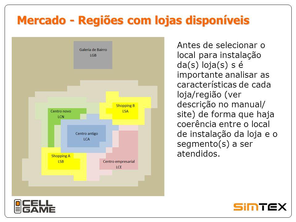 Mercado - Regiões com lojas disponíveis