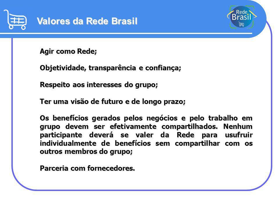 Valores da Rede Brasil Agir como Rede;