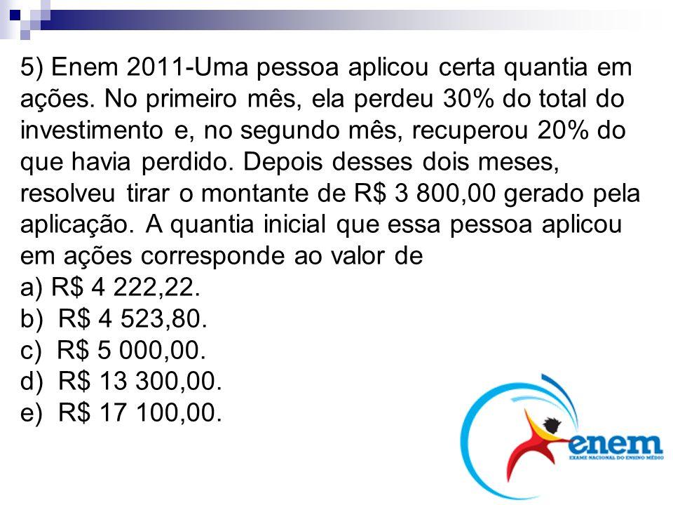 5) Enem 2011-Uma pessoa aplicou certa quantia em ações