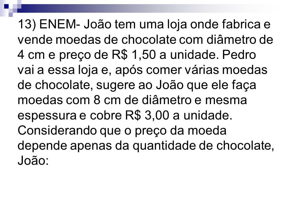 13) ENEM- João tem uma loja onde fabrica e vende moedas de chocolate com diâmetro de 4 cm e preço de R$ 1,50 a unidade.