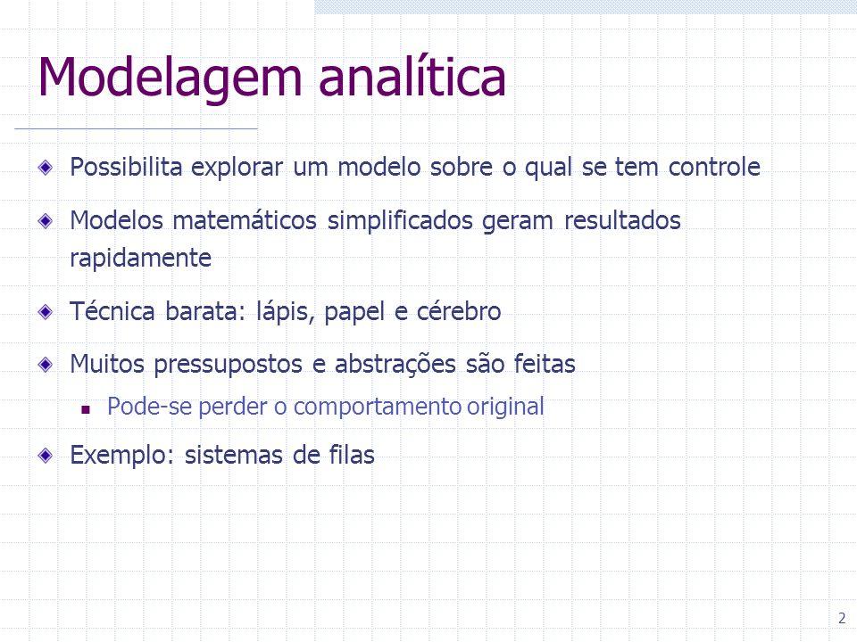 Modelagem analítica Possibilita explorar um modelo sobre o qual se tem controle. Modelos matemáticos simplificados geram resultados rapidamente.