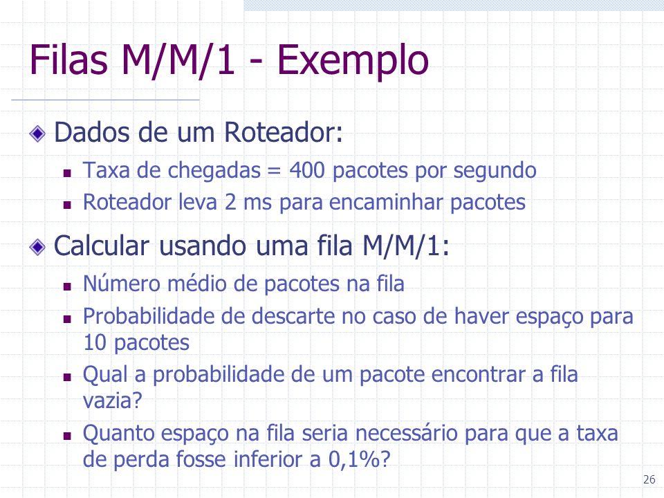 Filas M/M/1 - Exemplo Dados de um Roteador: