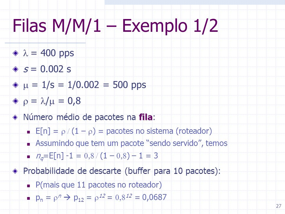 Filas M/M/1 – Exemplo 1/2 l = 400 pps s = 0.002 s
